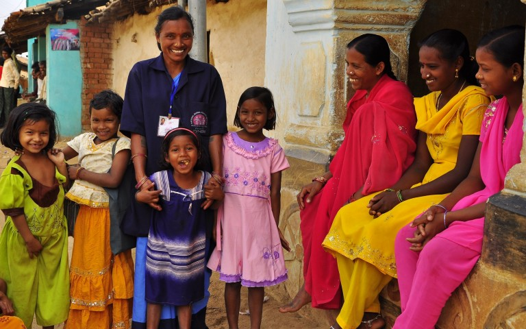 Children happy with ASHA, Odisha, India