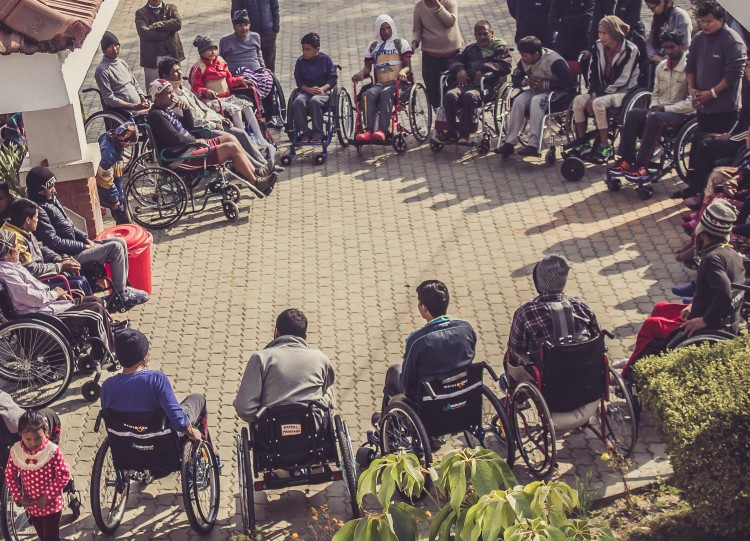 Wheelchair gathering at Spinal Injury Rehabilitation Centre
