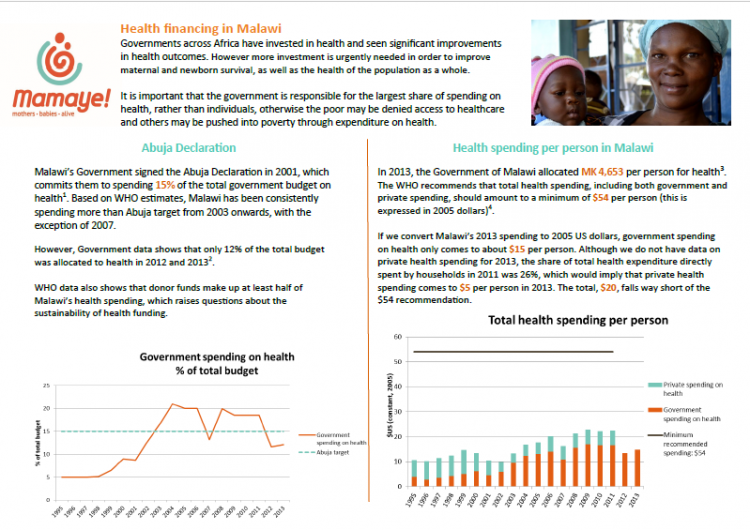 Example of graphic showing key findings from health financing assessment for policy makers in Malawi