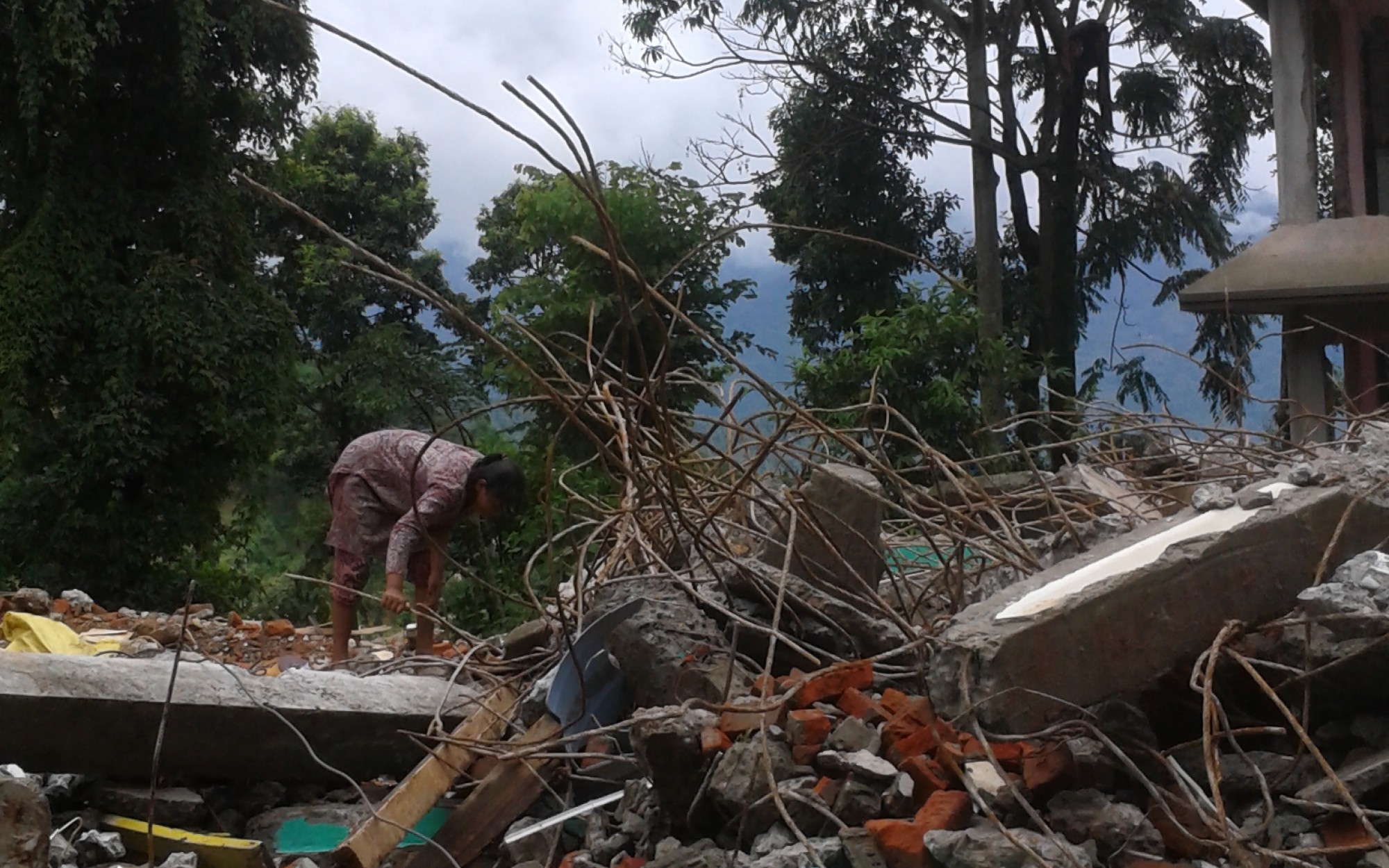 Damaged buildings in Sindhupalchowk