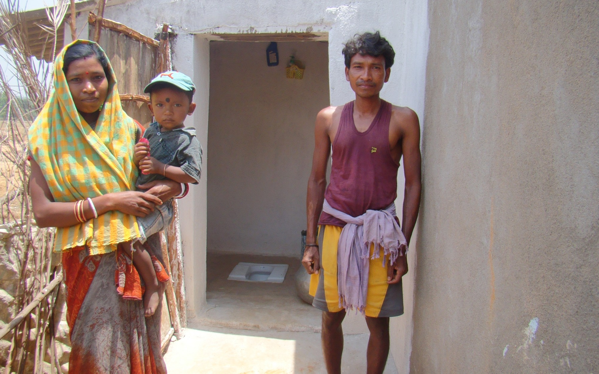 A family with their new toilet
