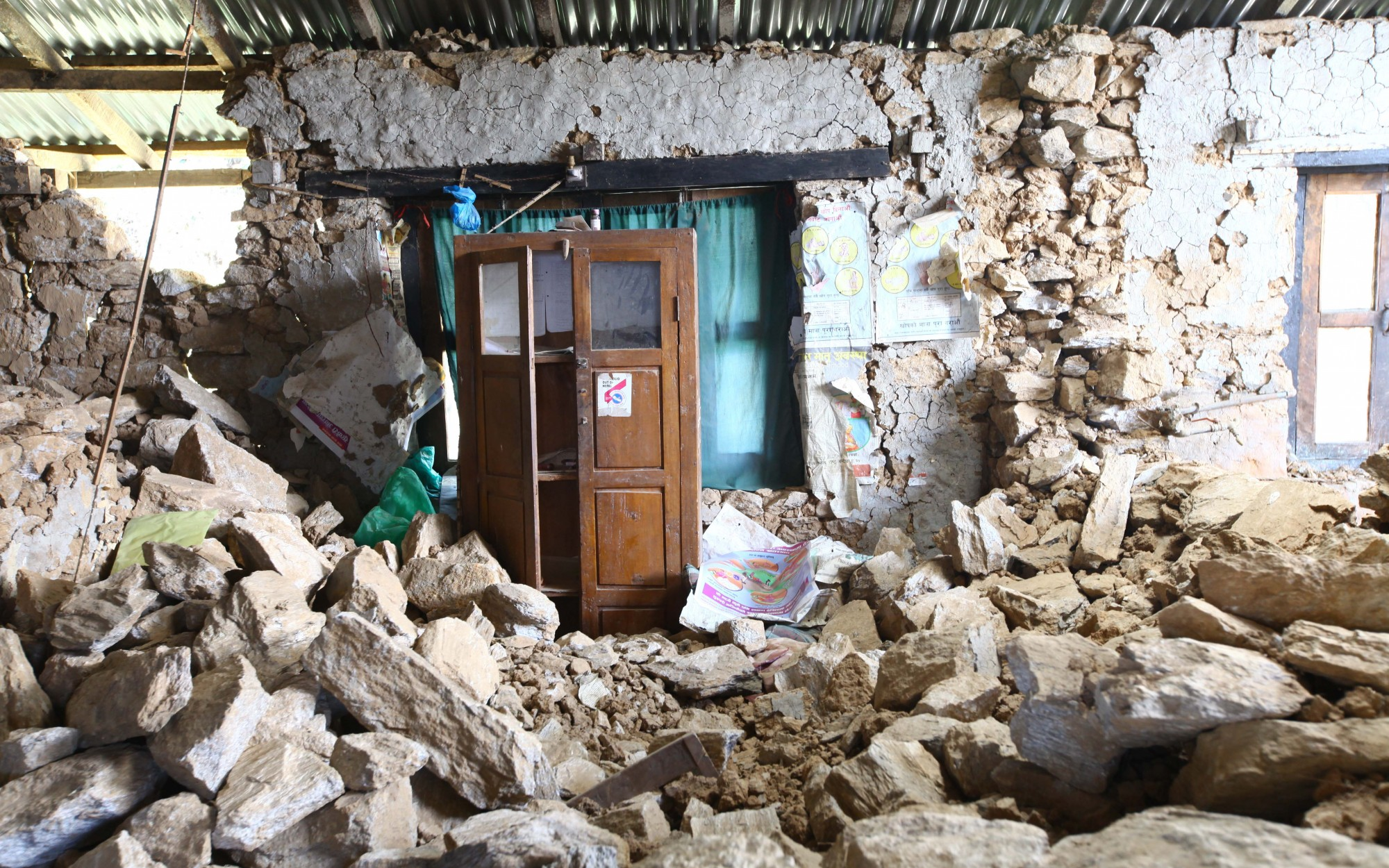 Equipment and other essential items got buried under the damaged facility in Dolakha district