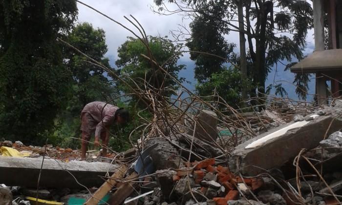 Damaged buildings in Sindhupalchowk