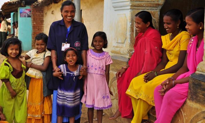 Children happy with ASHA, Odisha, India
