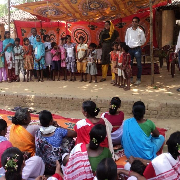 Children are given hand washing demonstration after celebration